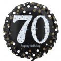 Luftballon aus Folie, Sparkling Birthday 70, zum 70. Geburtstag, mit Helium
