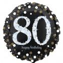 Luftballon aus Folie, Sparkling Birthday 80, zum 80. Geburtstag, mit Helium