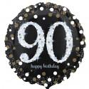 Luftballon aus Folie zum 90. Geburtstag, Sparkling Birthday 90, ohne Helium
