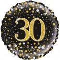 Holografischer Luftballon aus Folie, Sparkling Fizz Gold 30, zum 30. Geburtstag, Jubiläum, mit Helium