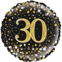 Luftballon aus Folie zum 30. Geburtstag, Jubiläum, Sparkling Fizz Gold 30, ohne Helium