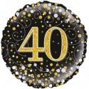 Holografischer Luftballon aus Folie, Sparkling Fizz Gold 40, zum 40. Geburtstag, Jubiläum, mit Helium