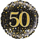 Holografischer Luftballon aus Folie, Sparkling Fizz Gold 50, zum 50. Geburtstag, Jubiläum, mit Helium