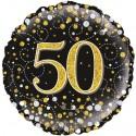 Luftballon aus Folie zum 50. Geburtstag, Jubiläum, Sparkling Fizz Gold 50, ohne Helium
