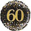 Holografischer Luftballon aus Folie, Sparkling Fizz Gold 60, zum 60. Geburtstag, Jubiläum, mit Helium
