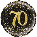 Luftballon aus Folie zum 70. Geburtstag, Jubiläum, Sparkling Fizz Gold 70, ohne Helium