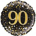 Holografischer Luftballon aus Folie, Sparkling Fizz Gold 90, zum 90. Geburtstag, Jubiläum, mit Helium