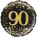 Luftballon aus Folie zum 90. Geburtstag, Jubiläum, Sparkling Fizz Gold 90, ohne Helium