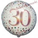 Holografischer Luftballon aus Folie, Sparkling Fizz Rosegold 30, zum 30. Geburtstag, Jubiläum, mit Helium