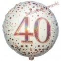 Holografischer Luftballon aus Folie, Sparkling Fizz Rosegold 40, zum 40. Geburtstag, Jubiläum, mit Helium