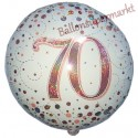 Luftballon aus Folie zum 70. Geburtstag, Jubiläum, Sparkling Fizz Rosegold 70, ohne Helium