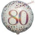 Luftballon aus Folie zum 80. Geburtstag, Jubiläum, Sparkling Fizz Rosegold 80, ohne Helium