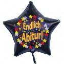 Endlich Abitur, Luftballon mit Helium-Ballongas, Sternballon, schwarz