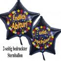 Endlich Abitur - und tschüss! Luftballon ohne Helium-Ballongas, Sternballon, schwarz