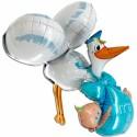 Großer 3D Luftballon aus Folie, It's a Boy Storch, Es ist ein Junge, ohne Helium