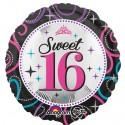 Luftballon Sweet 16, runder Folienballon mit Ballongas zum 16. Geburtstag