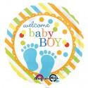 Luftballon zu Geburt und Taufe eines Jungen, Welcome Baby Boy, Ballon mit Ballongas Helium