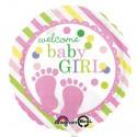 Luftballon zu Geburt und Taufe eines Mädchens, Welcome Baby Girl, Ballon mit Ballongas Helium