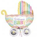 Welcome Baby Kinderwagen, großer Folienballon zu Geburt, Taufe, Babyparty, ohne Helium