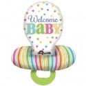 Welcome Baby, Großer Schnuller, Luftballon aus Folie, Ballon mit Helium zu Geburt und Taufe
