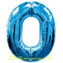 Luftballon aus Folie Zahl 0, Blau, 100 cm, inklusive Helium/Ballongas