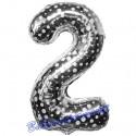 Luftballon aus Folie Zahl 2, Silber mit Punkten, 86 cm, inklusive Helium/Ballongas