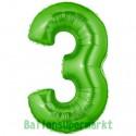 Luftballon aus Folie Zahl 3, Grün, 100 cm, inklusive Helium/Ballongas