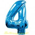 Luftballon aus Folie Zahl 4, Blau, 100 cm, inklusive Helium/Ballongas