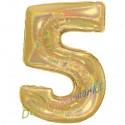 Luftballon aus Folie Zahl 5, Holografisch, Gold, 100 cm, inklusive Helium/Ballongas