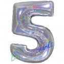 Luftballon aus Folie Zahl 5, Holografisch, Silber, 100 cm, inklusive Helium/Ballongas