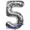 Zahlen-Luftballon aus Folie, 5, Fünf, Silber mit Punkten, 86 cm groß