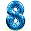 Luftballon aus Folie Zahl 8, Blau, 100 cm, inklusive Helium/Ballongas