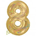 Luftballon aus Folie Zahl 8, Holografisch, Gold, 100 cm, inklusive Helium/Ballongas