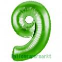 Luftballon aus Folie Zahl 9, Grün, 100 cm, inklusive Helium/Ballongas