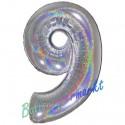 Luftballon aus Folie Zahl 9, Holografisch, Silber, 100 cm, inklusive Helium/Ballongas