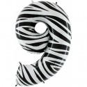 Luftballon aus Folie Zahl 9, Zebra-Optik, 100 cm, inklusive Helium/Ballongas