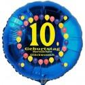 Luftballon aus Folie, 10. Geburtstag, Herzlichen Glückwunsch Ballons, blau, ohne Helium