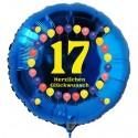 Luftballon aus Folie, 17. Geburtstag, Herzlichen Glückwunsch Ballons, blau, ohne Helium