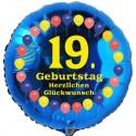 Luftballon aus Folie, 19. Geburtstag, Herzlichen Glückwunsch Ballons, blau, ohne Helium