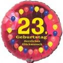 Luftballon aus Folie, 23. Geburtstag, Herzlichen Glückwunsch Ballons, rot, ohne Helium