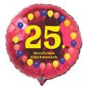 Luftballon aus Folie, 25. Geburtstag, Herzlichen Glückwunsch Ballons, rot, ohne Helium