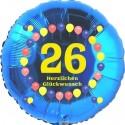 Luftballon aus Folie, 26. Geburtstag, Herzlichen Glückwunsch Ballons, blau, ohne Helium
