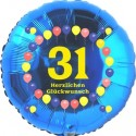 Luftballon aus Folie, 31. Geburtstag, Herzlichen Glückwunsch Ballons, blau, ohne Helium
