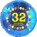 Luftballon aus Folie, 32. Geburtstag, Herzlichen Glückwunsch Ballons, blau, ohne Helium