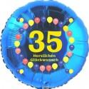Luftballon aus Folie, 35. Geburtstag, Herzlichen Glückwunsch Ballons, blau, ohne Helium