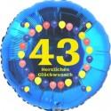 Luftballon aus Folie, 43. Geburtstag, Herzlichen Glückwunsch Ballons, blau, ohne Helium
