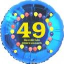 Luftballon aus Folie, 49. Geburtstag, Herzlichen Glückwunsch Ballons, blau, ohne Helium