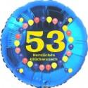 Luftballon aus Folie, 53. Geburtstag, Herzlichen Glückwunsch Ballons, blau, ohne Helium