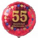 Luftballon aus Folie, 55. Geburtstag, Herzlichen Glückwunsch Ballons, rot, ohne Helium