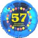 Luftballon aus Folie, 57. Geburtstag, Herzlichen Glückwunsch Ballons, blau, ohne Helium